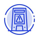 Podłoga, sygnał, Sygnalizujący, Ostrzegający, Mokry błękit Kropkująca linii linii ikona royalty ilustracja