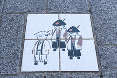 Podłogowe płytki na sposobie Odawara roszują Fotografia Royalty Free