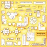 Podłogowego planu ikony ustawiać dla projekta wnętrza i architektonicznego projekta przeglądają z góry Meble cienka kreskowa ikon ilustracji