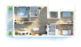 Podłogowego planu mieszkania nakreślenie ilustracji