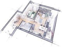 Podłogowego planu nakreślenie Obrazy Royalty Free