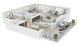 Podłogowy plan domowa widoku 3D ilustracja ilustracja wektor