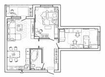 Podłogowy plan z meble w odgórnym widoku Architektoniczny set meble cienkie kreskowe ikony Szczegółowy układ nowożytny mieszkanie ilustracja wektor