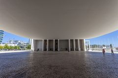 Pod baldachimem Pavilhao de Portugalia, aka Portugalski pawilon, Zdjęcia Stock