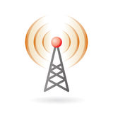 Pod-cast and broadcasting icon. Illustration of radio antenna mast with signals on air Royalty Free Stock Photography