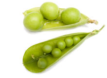 Pod of  a green peas and fruits plums Royalty Free Stock Photo