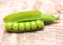 Pod of green peas Royalty Free Stock Images