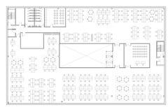 Podłogowy plan budynek biurowy Fotografia Royalty Free
