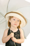 Pod parasolem śliczna dziewczyna Obraz Royalty Free