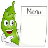 Pod of Peas Character with Blank Menu Stock Photo