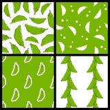 Pod of Peas Seamless Patterns Set Stock Photos