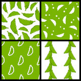 Pod of Peas Seamless Patterns Set Stock Photos