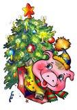 pod rok nowy świniowaty drzewo Zdjęcie Royalty Free