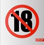 Pod 18 rok prohibicja znaka Dorosli tylko Liczba osiemnaście w czerwień krzyżującym okręgu ilustracja odizolowywający symboli/lów ilustracja wektor