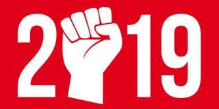 2019 pod znakiem demonstracje w ulicie i strajk royalty ilustracja