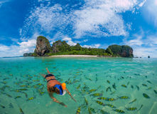Poda海滩在Krabi泰国 库存图片