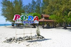 Poda island information sign. In the Andaman Sea, off Ao Nang, province of Krabi, Thailand royalty free stock photo