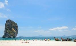 Poda Island, white sandy beach with turquoise andaman sea water Royalty Free Stock Photo