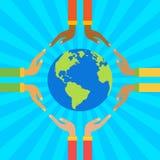 podaj globus gospodarstwa Save ziemską pojęcie wektoru ilustrację Obrazy Stock