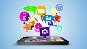 Podaniowe ikony unosi się nad czarny smartphone zbiory
