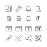 Podaniowe powiadomienie ikony - Wektorowa ilustracja, Kreskowe ikony ustawiać Zdjęcia Royalty Free