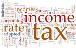 podatek dochodowy obłoczny słowo Fotografia Stock