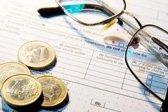 Podatek formy biznesowy pieniężny pojęcie Fotografia Royalty Free