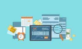 Podatek zapłata Mobilna zapłaty usługa Rządowi stanów podatki Podatek forma, pieniężny kalendarz, pieniądze, kredytowa karta, fak ilustracja wektor