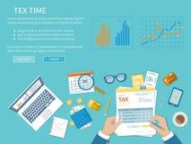 Podatek zapłaty pojęcie Rzędu Stanowego opodatkowanie, obliczenie podatek, powrót Niezapełniona pusta podatek forma Zdjęcie Stock