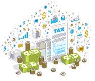 Podatkowy pojęcie, podatek forma lub papieru dokument prawny z gotówkowymi pieniądze stertami odizolowywać na białym tle, Isometr royalty ilustracja