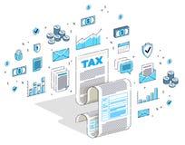 Podatkowy pojęcie, podatek forma lub papieru szkotowy dokument prawny odizolowywający na białym tle, Isometric 3d wektoru finanse royalty ilustracja