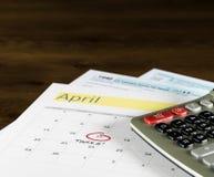 Podatku dzień dla 2017 powrotów jest Kwiecień 17, 2018 Obrazy Stock