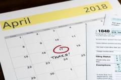 Podatku dzień dla 2017 powrotów jest Kwiecień 17, 2018 Fotografia Stock
