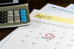 Podatku dzień dla 2017 powrotów jest Kwiecień 17, 2018 Obraz Stock
