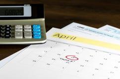 Podatku dzień dla 2017 powrotów jest Kwiecień 17, 2018 Zdjęcie Royalty Free