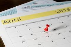 Podatku dzień dla 2017 powrotów jest Kwiecień 17, 2018 Obraz Royalty Free
