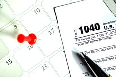 Podatku dzień dla 2017 powrotów Zdjęcia Stock