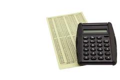 Podatku kalkulatora finanse mapy odosobniony biel fotografia royalty free