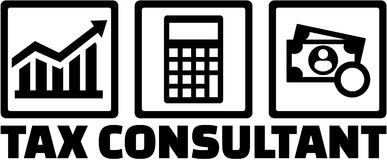 Podatku konsultant z ikonami ilustracji