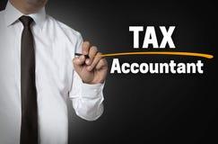 Podatku księgowy napisze biznesmena tła pojęciem Zdjęcie Stock