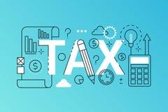 Podatku słowa składu modny sztandar Zarysowywa uderzenie podatku zapłaty, pieniężny prawo konsultuje, zwrot, biznesowy dochód ilustracja wektor