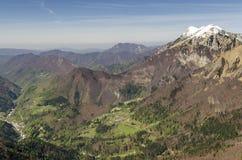 Podbrdo Prst od Soriška Planina i Črna Fotografia Stock
