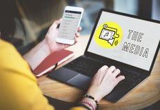 Podcast ψηφιακή έννοια μέσων συσκευών κοινωνική Στοκ Φωτογραφίες