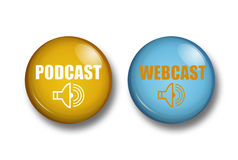 Podcast. Buttons with podcast and webcast icons Royalty Free Stock Image