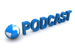 Podcast. 3D text spelling Podcast in blue isolated on white background with 3D Earth royalty free illustration