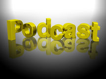 Podcast 3D gold word rendering Stock Images