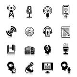Podcast Black Icons Channel Concept Royalty Free Stock Images