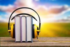 Podcast. Book audio music radio background school Stock Image