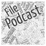 A podcast client 242 word cloud concept  background. Text Stock Image