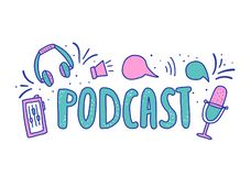Podcast lettering with decoration. Vector design. Podcast composition with handwritten lettering and decoration. Text and podcasts elements isolated on white vector illustration